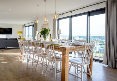 Interior designed open planing dining space at Panorama, Mawgan Porth