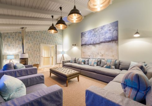 Interior designed living space by Tracey Mannell at Seamist, Wateragte Bay Cornwall