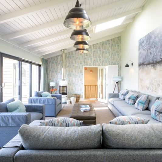 Interior designed living space at Seamist Watergate Bay by Tracey Mannell
