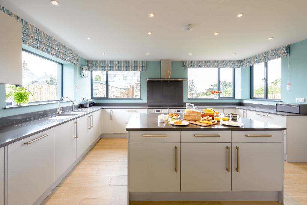 Interior designed contemporary kitchen at Seamist, Watergate Bay