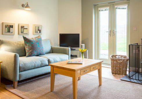 Interior designed living space at Widemouth Bay by Cornwall based interior designer Tracey Mannell