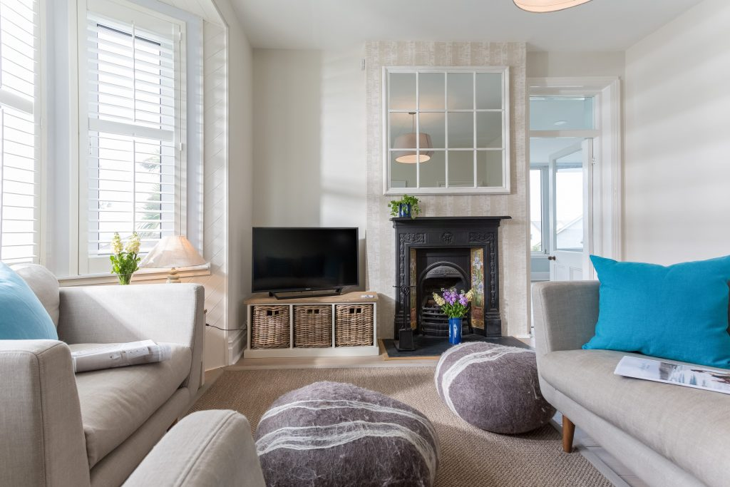 Interior designed coastal living space by Tracey Mannell