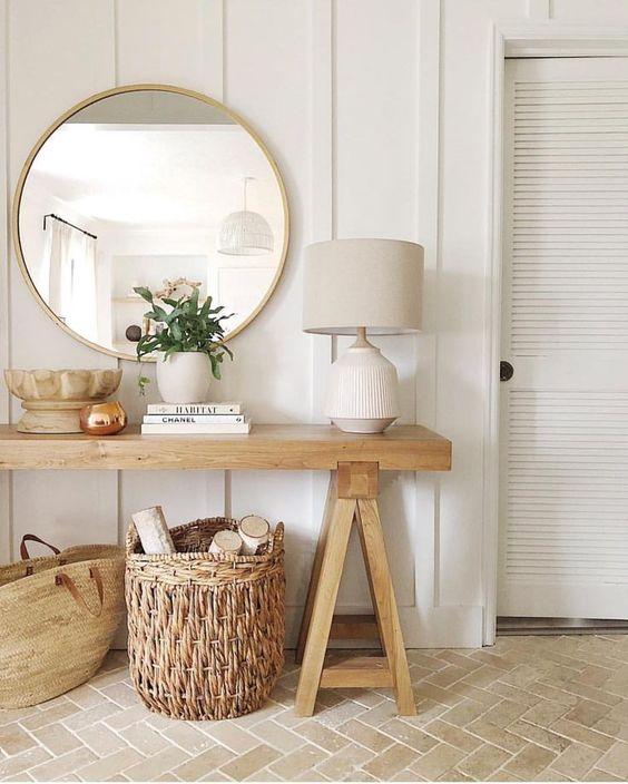 Woven rattan basket in hallway interiors