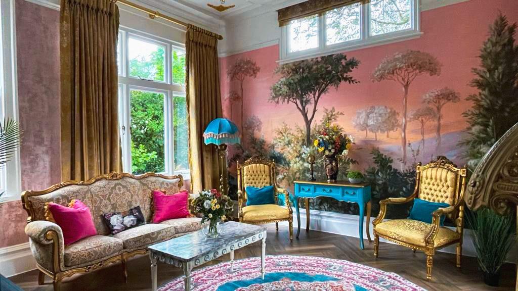 Garden Room tropical interiors influence at Penarwyn House Cornwall